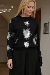 Year Christmas Knitwear Shiny Beaded Classic Highend Viscose Blend Sweater Rock Girl