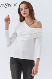Asymmetric Shirt Skew Collar Long Sleeve One Off Shouder Ruched Knitting Shirts Tide