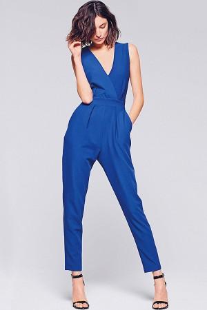 Blue Surplice V Neck Back Bow Slit  Jumpsuit