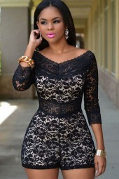 Black White Three Quarter Sleeve High Waist Lace Romper