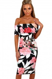 Black Floral  Off Shoulder Cutout  Bodycon Dress