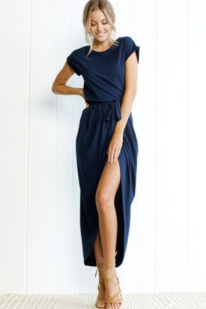Dark Blue Round Neck Tied Waist High Low Casual Maxi Dress