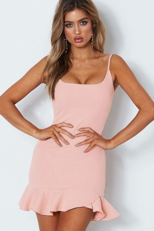 Light-pink Spaghetti Straps Ruffles  Bodycon Dress