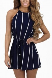 Dark-blue High Neck Sleeveless Stripe Keyhole Tied Chic Romper