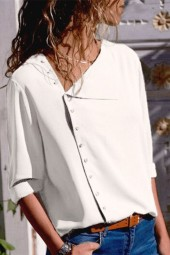 White Asymmetrical Neck Button Long Sleeve Chic Blouse
