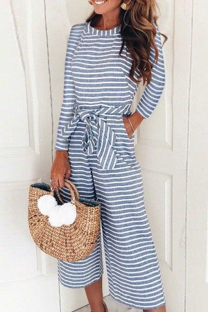 Blue Stripe Long Sleeve Round Neck Tied Casual Jumpsuit