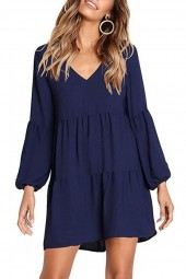 Dark-blue Long Puff Sleeve V Neck Tiered Casual A Line Dress