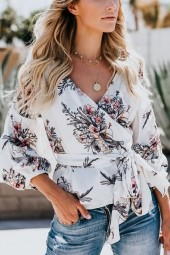 White Floral  V Neck Tied Wrap Puff Sleeve Casual Blouse