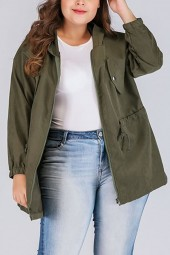 Army-green Zipper Drawstring Hooded Casual Plus Size Anorak Jacket
