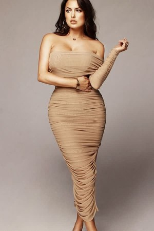 Apricot One Sleeve Ruched Mesh Slit  Bodycon Party Dress