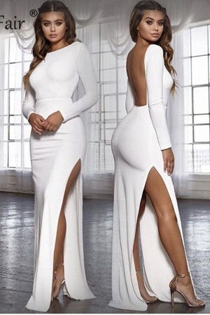 Backless Party Dress Vestidos Long Sleeve High Side Split Bodycon Maxi Dress White Black Elegant Long Dress