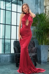 Mermaid Satin Dress Floor Length Party Dress Hollow Out Diy Straps Bodycon Backless Maxi Dress