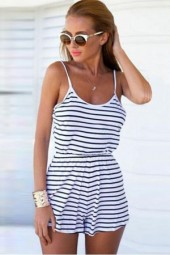 Black Stripe Spaghetti Straps Open Back Romper