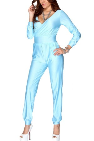 Light Blue Long Sleeve Pleated V Neck Jumpsuit