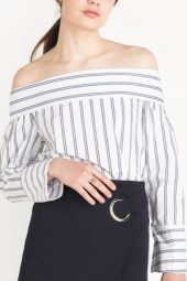 White Stripes Off Shoulder Long Sleeve  Blouse