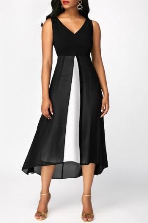 Black Mesh Panel V Neck Sleeveless Dress