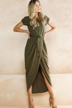 Army Green Round Neck Tied Waist High Low Casual Maxi Dress