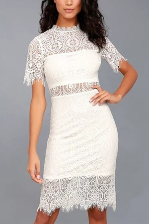 White Lace Crochet Hollow Out  Bodycon Dress