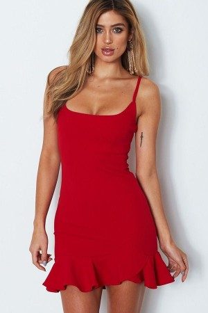 Red Spaghetti Straps Ruffles  Bodycon Dress