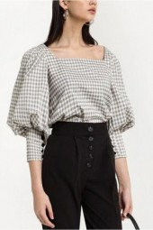 Black-white Gingham Puff Sleeve Button Square Neck Chic Blouse