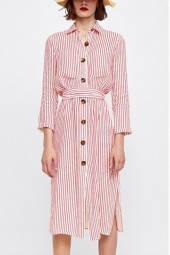 Red-white Stripe Button Up Long Sleeve Casual Shirt Dress