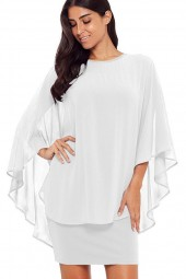 White Cape Sleeve Round Neck Tulle Chic Dress