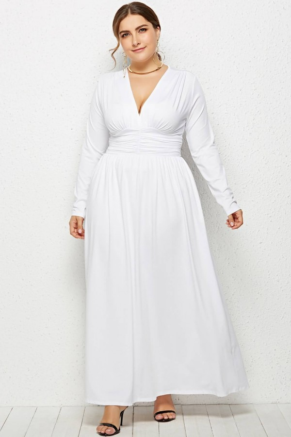 White Ruched V Neck Long Sleeve Casual Maxi Plus Size Dress