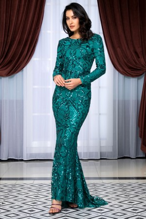 Round Neck Open Back Geometric Element Sequins Material Bodycon Long Sleeve Long Dress Lm Green