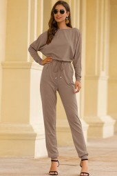Khaki Boat Neck Tied Long Sleeve Casual Jumpsuit