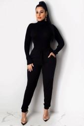 Black Pocket Turtle Neck Casual Sweater Pants Set