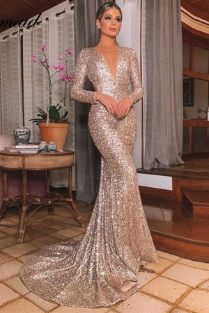 Deep Neck Bodycon Floor Length Maxi Party Long Sleeve Sequin Dress De Fiest
