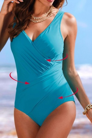 Vintage Padded Push Up One Piece Swimsuits Tummy Control Bathing Suits Plus Size Swimwear