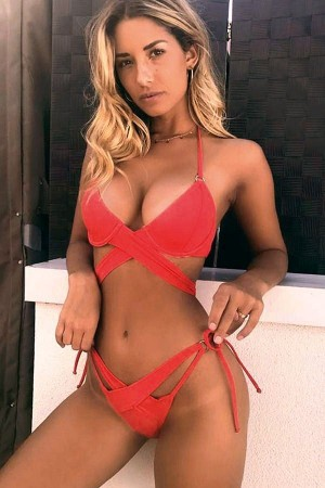 Red Wrap Around Halter Brazilian High Cut  Bikini