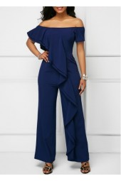 Off the Shoulder Navy Ruffle Trim Jumpsuit