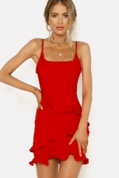 Red Spaghetti Straps Ruffles Backless Casual Dress