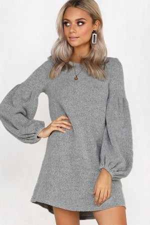 Gray Puff Sleeve Round Neck Casual Shift Dress