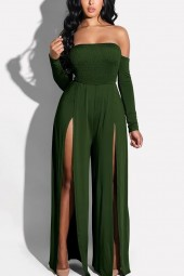 Green Shirred Slit Off Shoulder  Jumpsuit