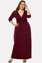 Darkred Plunging Long Sleeve Casual Maxi Plus Size Dress