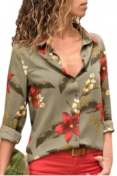 Tops And Blouses Summer Floral Chiffon Blouse Long Sleeve Turn Down Collar Office Shirt Blusas Mujer Plus Size