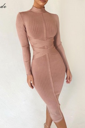 Bodycon Nude Turtleneck Rayon Long Sleeve Bandage Dress High