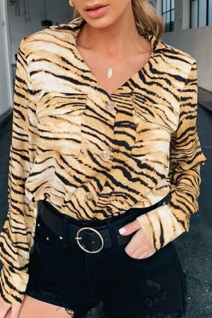 Spring Autumn Vintage Tops And Blouses Long Sleeve Tiger Striped Chiffon Blouse Streetwear Shirts Tunic Ladies Tops