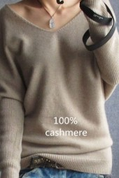 Spring Autumn Sweaters Vneck Sweater Loose Wool Sweater Batwing Sleeve Plus Size Pullover