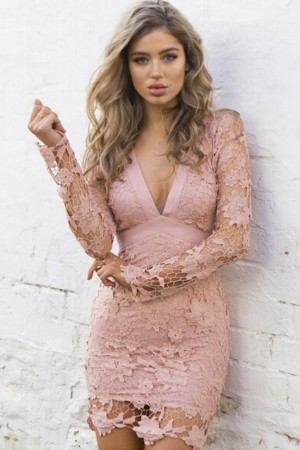 Pink Crochet Lace V Neck  Bodycon Dress