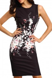 Black Floral  Sleeveless  Bodycon Dress
