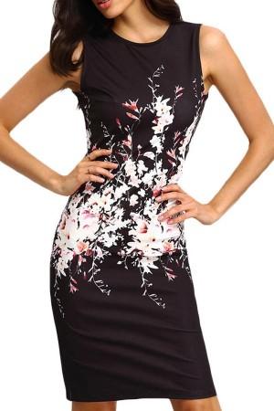 Black Floral  Sleeveless  Bodycon Dress