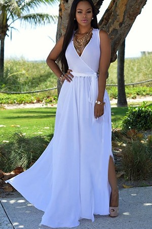 White Sleeveless V Neck  Maxi Chiffon Dress