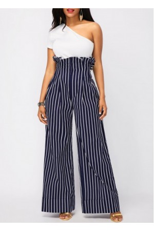 One Shoulder Top and High Waist Striped Pants