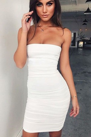 White Ruched Strapless Bodycon Mini Party Dress