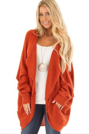 Orange Knitted Pockets Bat Sleeve Open Front Sweater Cardigan
