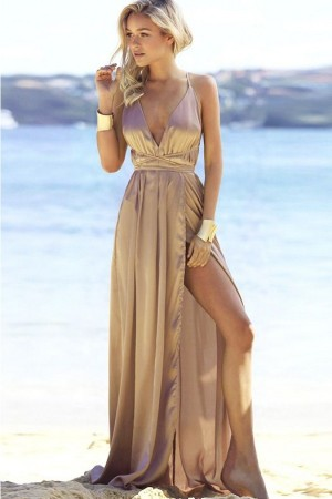 Khaki Plunging Crisscross Lace Up Backless Slit  Maxi Dress